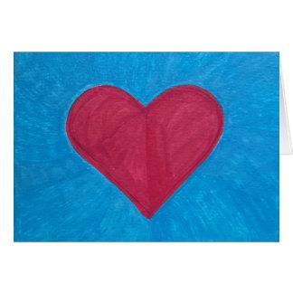 Cartes Coeur rouge sur le CHAMP BLEU