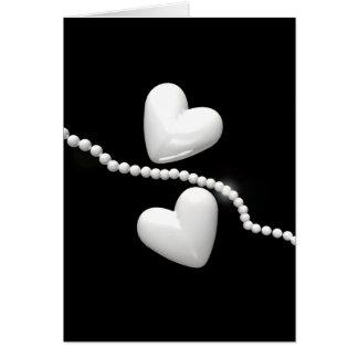 Cartes Coeurs de perle sur le noir