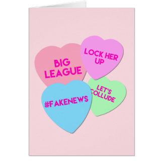 Cartes Coeurs de sucrerie de Valentine Trumpism d'atout
