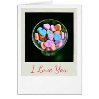 Cartes Coeurs de sucrerie je t'aime saluant