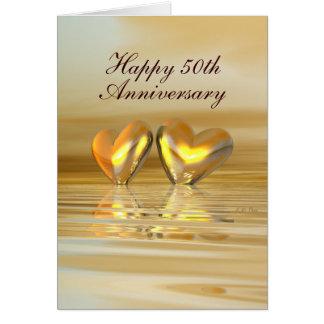 Cartes Coeurs d'or d'anniversaire (grands)