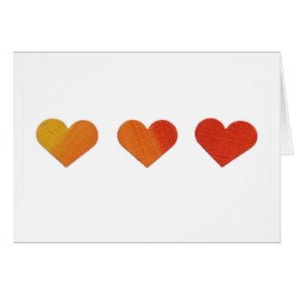 Cartes Coeurs jaunes, oranges, rouges
