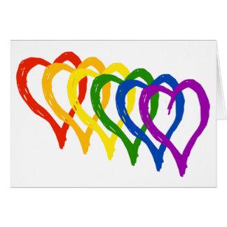 Cartes Coeurs posés par arc-en-ciel de gay pride de
