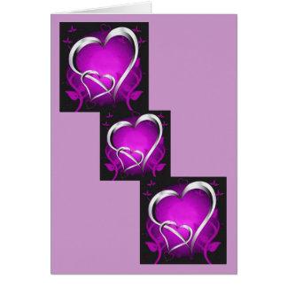 Cartes Coeurs pourpres