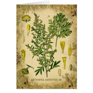 Cartes Collage botanique d'absinthe
