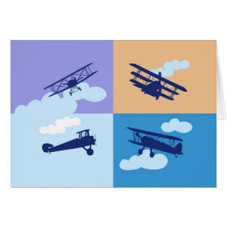 Cartes Collage d'avion sur des couleurs en pastel