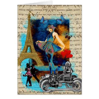 Cartes Collage vintage romantique de Paris
