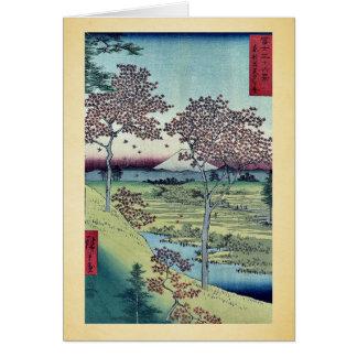 Cartes Colline de coucher du soleil par Ando, Hiroshige