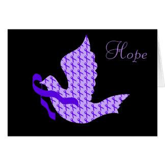 Cartes Colombe de ruban pourpre d'espoir - maladie