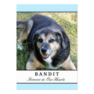 Cartes commémoratives de chien - moderne bleu avec carte de visite grand format