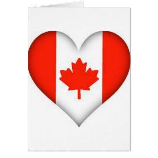 Cartes conception canadienne de coeur de drapeau