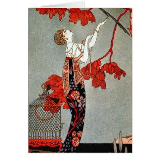 Cartes Conception rouge de Madame art déco