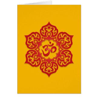 Cartes Conception rouge et jaune florale d'Aum