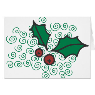 Cartes Conception rouge et verte moderne de houx de Noël