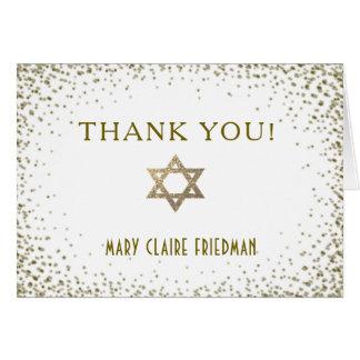 Cartes Confettis d'or avec le Merci d'étoile de David
