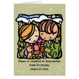 Cartes Confort dans l'amitié. Espoir dans la prière. Paix