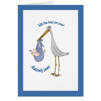 Cartes Congés de maternité, cigogne et bébé