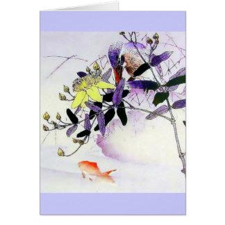 Cartes Copie de Japonais de martin-pêcheur de poisson