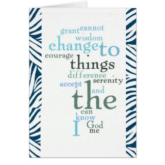 Cartes Copie de zèbre d'art de mot de prière de sérénité