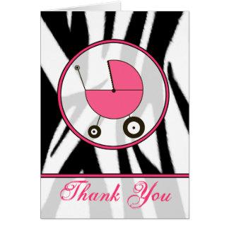 Cartes Copie noire de zèbre/Merci rose de voiture