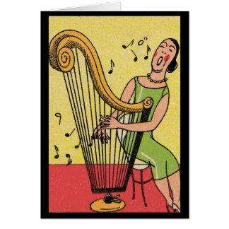Cartes Copie vintage de femme jouant l'harpe