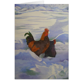 Cartes Coq et poule dans la neige