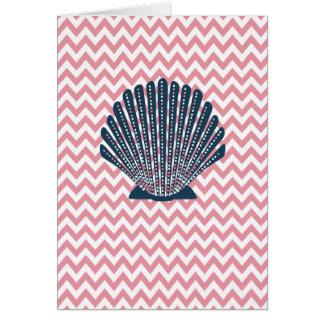 Cartes Coquillage rose de bleu de Chevron