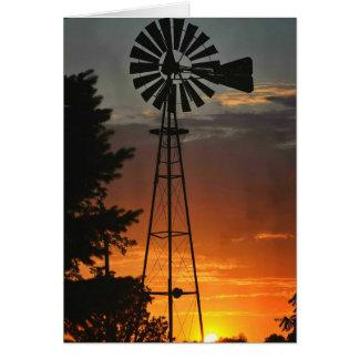 Cartes Coucher du soleil de moulin à vent
