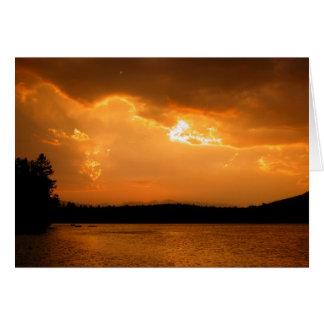 Cartes Coucher du soleil du lac cinq
