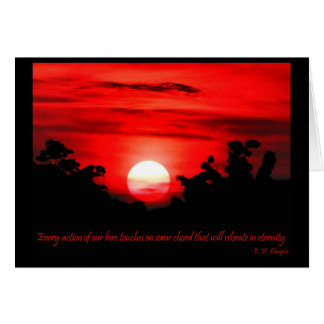 Cartes Coucher du soleil rouge de flambage de citation