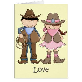 Cartes Couples de cow-girl et de cowboy dans l'amour