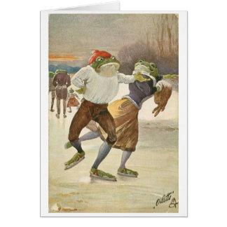 Cartes Couples de grenouille de patinage de glace,