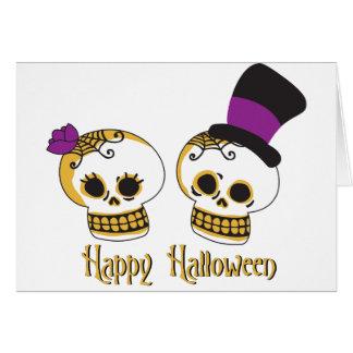 Cartes Couples mignons de crâne de Halloween