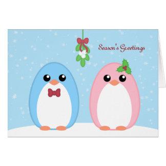 Cartes Couples mignons de pingouin de vacances
