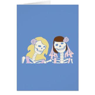 Cartes Couples squelettiques femelles de blonde et de