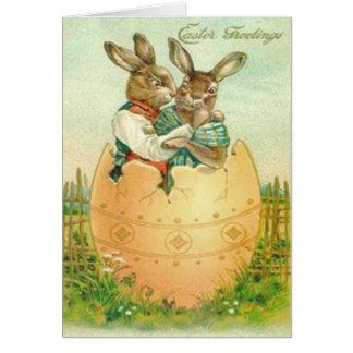 Cartes Couples vintages de lapin de Pâques en oeuf de