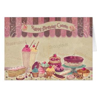 Cartes Cousin de joyeux anniversaire - gâteaux et bonbons