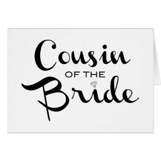 Cartes Cousin de noir de jeune mariée sur le blanc