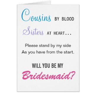 Cartes Cousins par sang, soeurs au coeur - demoiselle