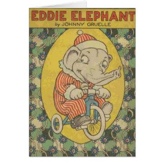 Cartes Couverture de livre d'éléphant d'Eddie (blanc à