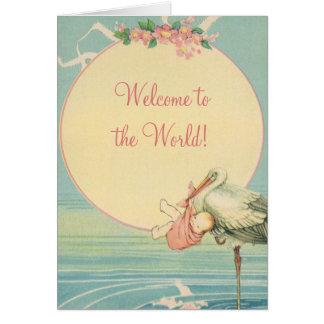 Cartes Couverture vintage de bébé de cigogne, accueil au