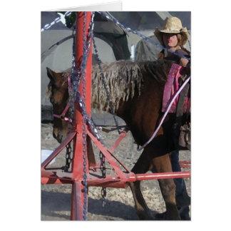 Cartes Cow-girl douce de poney à la foire régionale -