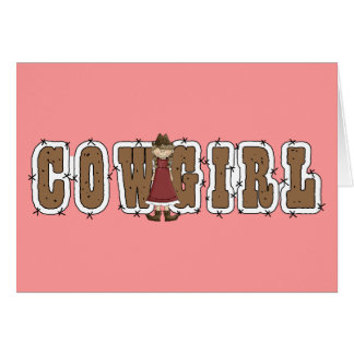 Cartes Cow-girl et fil mignons de Barb - blanc occidental
