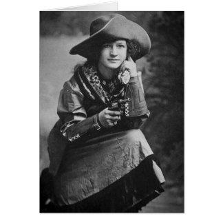 Cartes Cow-girl vintage posant avec son six tireurs