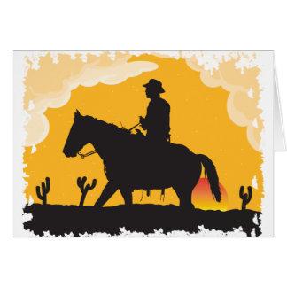 Cartes Cowboy de coucher du soleil