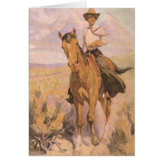 Cartes Cowboy vintage de cow-girl, femme sur le cheval