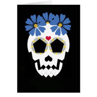 Cartes Crâne avec les fleurs bleues