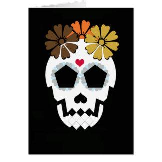 Cartes Crâne avec les fleurs Hued d'automne