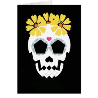 Cartes Crâne avec les fleurs jaunes