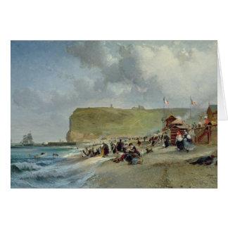 Cartes Crinolines sur la plage, Fecamp, 1871